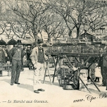 Postcard depicting the market in the late 19th century.