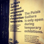 Signage about temporary exhibitions